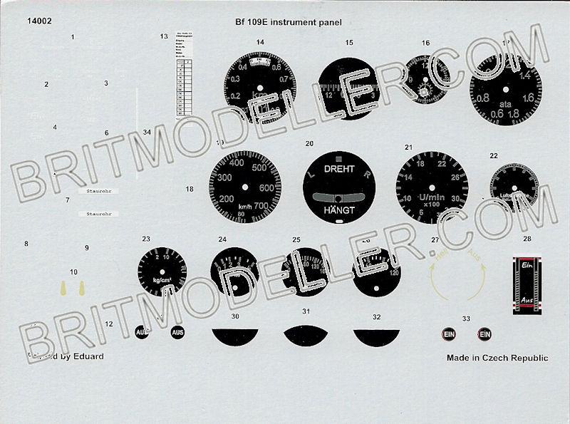 eduard 1 4 scale bf-109e panel - kits