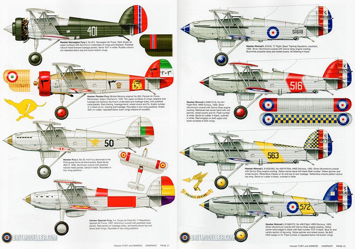Hawker Fury and Nimrod Warpaint No 116 - Guideline